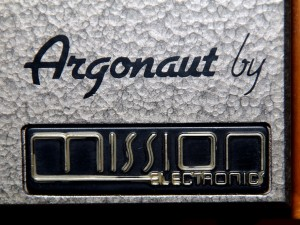 "The ""Argonaut by Mission Electronics"" logo on the bottom-right of the speaker cabinet."